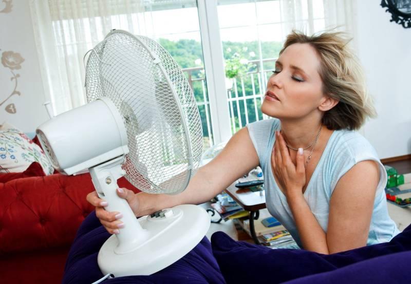 woman holding air fan